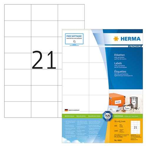 Herma A4 Premium Label 7 X 4.23cm 100 Sheets/pack 4668