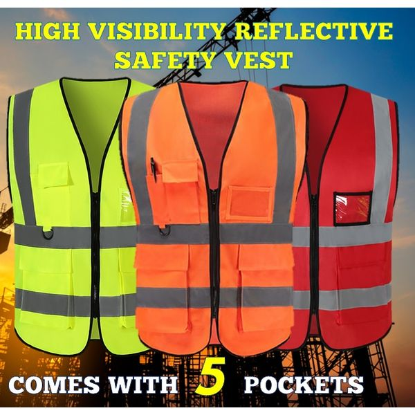 High Visibility Safety Vest With Reflective, Pocket, Key Ring & Id Tag