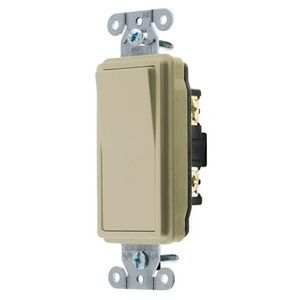 Hubbell Style Line Decorator Series Specification Grade Switch, 15a 120-277v Ac, Single Pole, Ivory