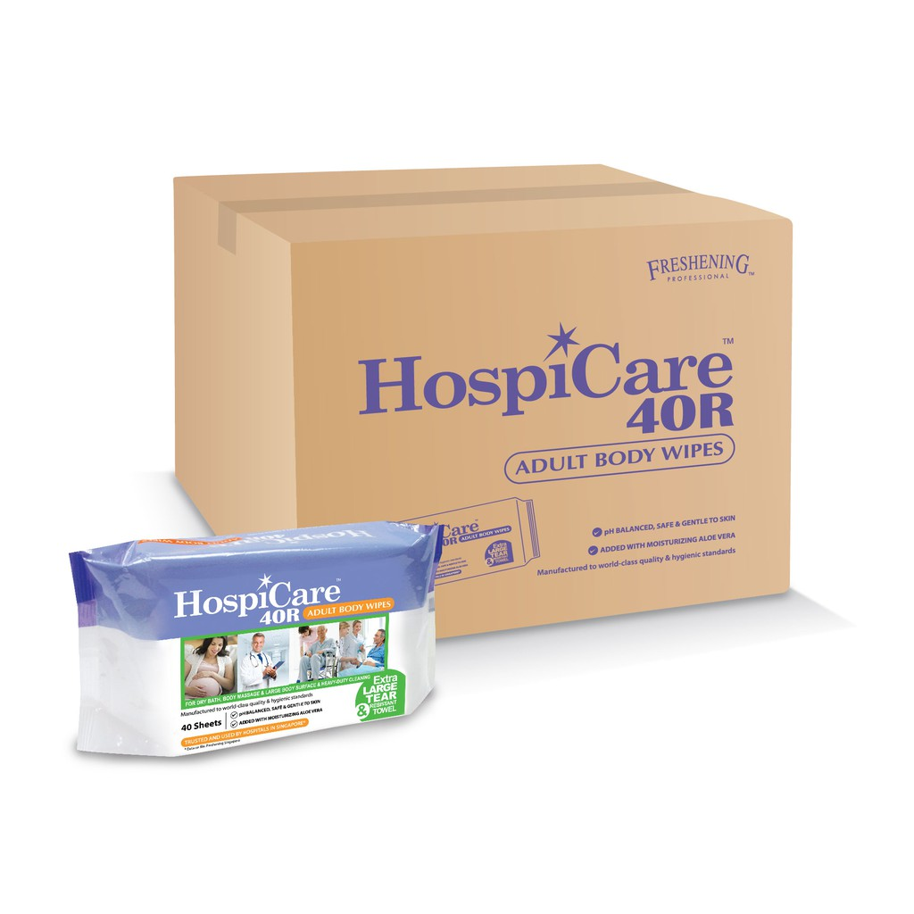 Hospicare 40R Adult Body Wipes (18 Pack a Carton)