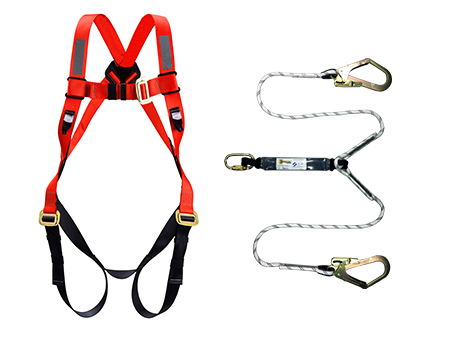 Orex Safety Full Body Harness With Energy Absorber Double Hook Rope Lanyard ( 6pcs/ Pack )