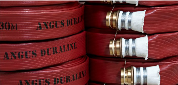 """Angus Duraline Fire Hose 45mm X 30 Mtr C/w Angus Duraline Fire Hose 30m X 45mm Diameter Fitted With 2-1/2"""" Bs336 Gunmetal Ribbed Tail Instantaneous Couplings, Wired On. G4a1f0301c"""