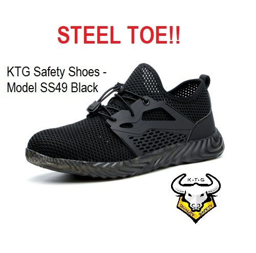 Ktg Steel Toe Sports Safety Work Shoes / Boots Model SS49 - Black