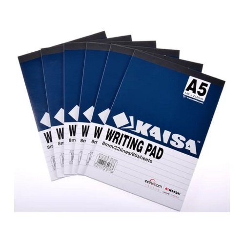 A5 ruled pad - 8mm line - 60 sheets