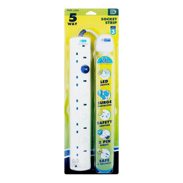 Daiyo Led 5 Way Extension Socket Strip With Surge 3m DE 285-3M