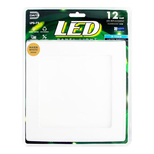 Led Panel Light / Square / 12w / 3000k