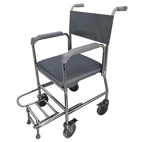 Lifeline Stainless Steel Commode With Stainless Steel Fork & Seat Cushion