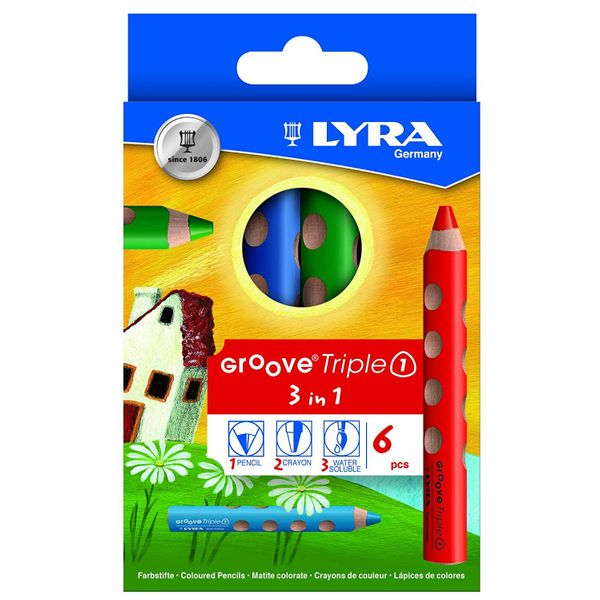 Lyra Groove Triple One Colour Pencil Assorted, 10mm Extra Thick