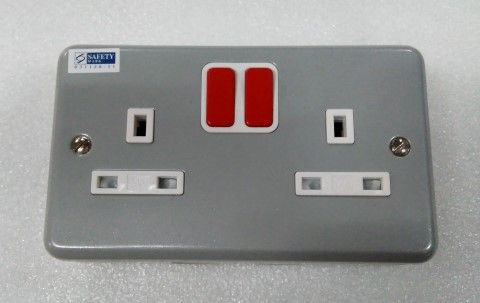 Mk Electric 2 X 13a Metal Clad Switched Socket Outlet - Red Rocker G2946RR