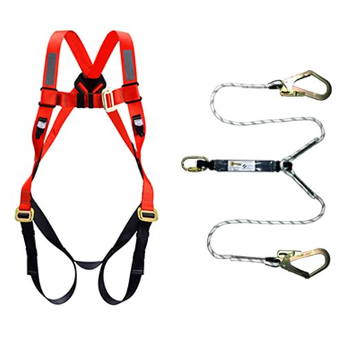 Orex Safety Full Body Harness With Energy Absorber Double Hook Rope Lanyard