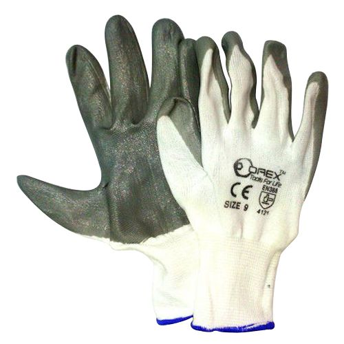 Orex Safety Glove With White Polyester & Gray Nitrile