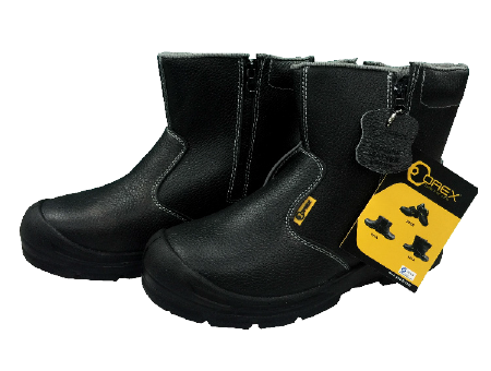 Orex Mid Cut Safety Shoe With Steel Toe & Rubber Sole With Zip