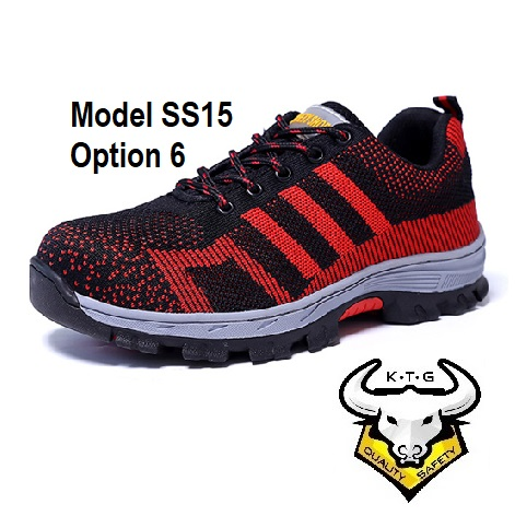 Ktg Steel Toe Sports Safety Work Shoes / Boots Model Ss15 - Red Non Reflective Stripe