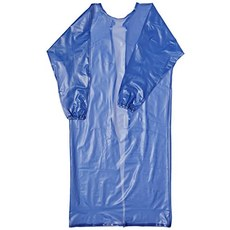 Accsafe Blue Pvc Coat Apron for Chemical, Long Sleeve With Elastic Cuff