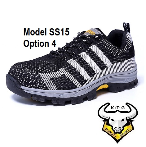 KTG Steel Toe Sports Safety Work Shoes / Boots Model SS15 - Black Non Reflective Stripe