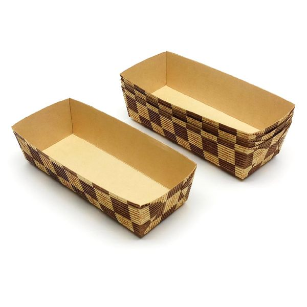 Paper Loaf Cake Tray (brown Block) 17.5x6.5x4.5cm (4pc)