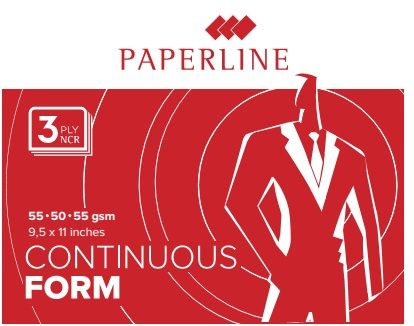 "Paperline Blank Computer Form 9.5 X 11"" 3-ply, White/white/white [800 Sets]"