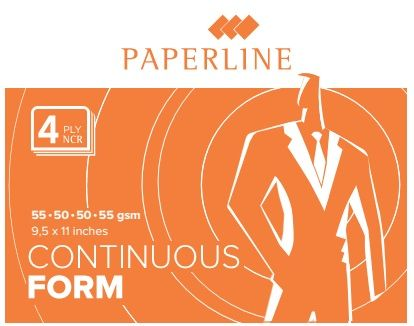 "Paperline Blank Computer Form 9.5 X 11"" 4-ply, White/pink/blue/yellow [400 Sets]"