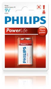 Philips Power Life Blister Pack 9v Power Alkaline Battery, LR61P1B/97