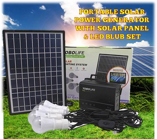 Portable Solar Generator W/ Power Storage & Led Blub