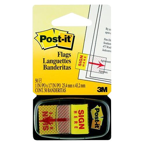 Post-it Flags Sign Here 2.54 X 4.32 Cm 680-9