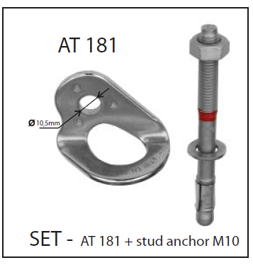 Accsafe SS316 Permanent Anchor Point Set with Stub AT181
