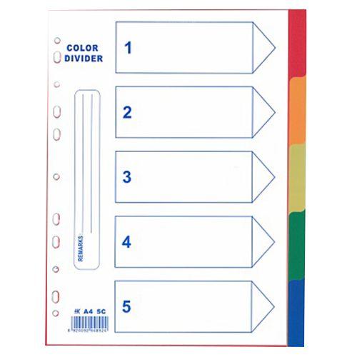 Pte Label Plastic Divider 5 A4 Assorted