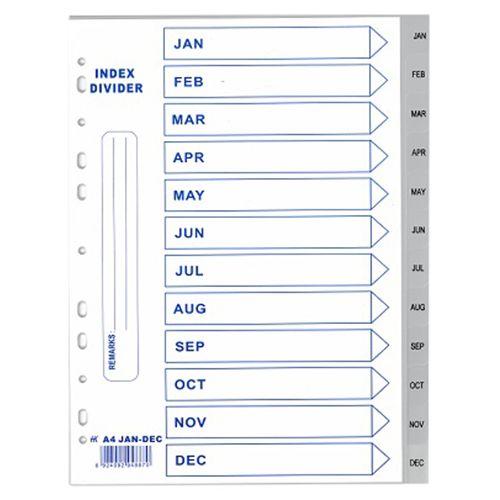 Pte Label Plastic Divider Jan-dec A4 Grey