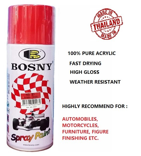 Bosny 100% Acrylic Spray Paint NO.23 Signal Red (box of 12 Can)