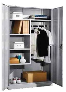 S-i Clothes Utility Cupboard 4 Flat Shelves With 3/4 Partition Light Grey - SICUTCBD