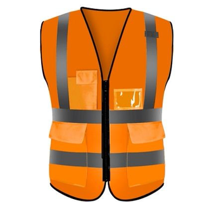 "Safety Vest Bright Orange With 2"" Reflective Stripes Front & Back (lta)"