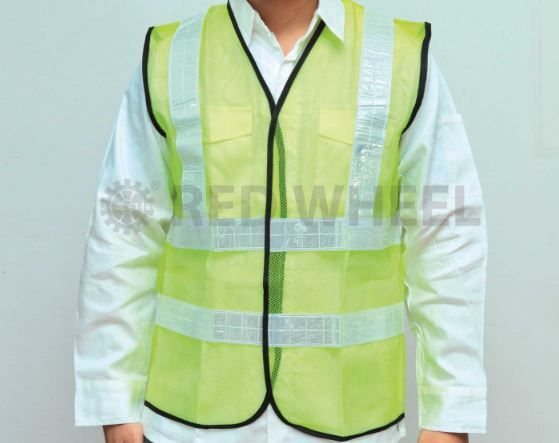 "Safety Vest Green With 2"" Reflective Stripes Front & Back (lta)"