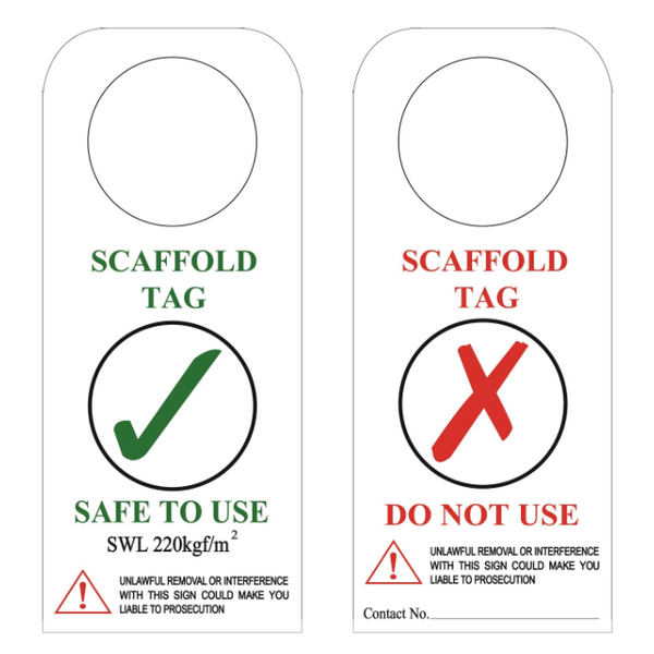 """Scaffold Tag """"safe to Use"""" (plastic - Waterproof) GH 310"""