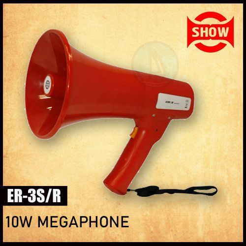 Show ER-3S/Red 10w Megaphone With Built-in Alert Siren, Hand Grip Type Megaphone