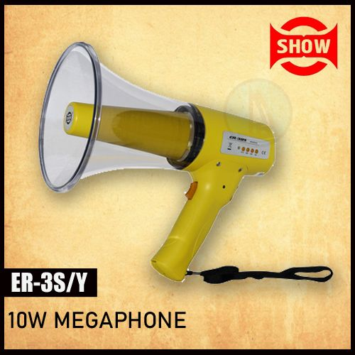 Show ER-3S/Yellow 10w Megaphone With Built-in Alert Siren, Hand Grip Type Megaphone