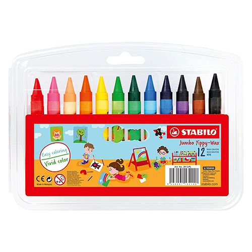 Stabilo Yippy-wax Jumbo Crayons With 12 Brilliant Colours