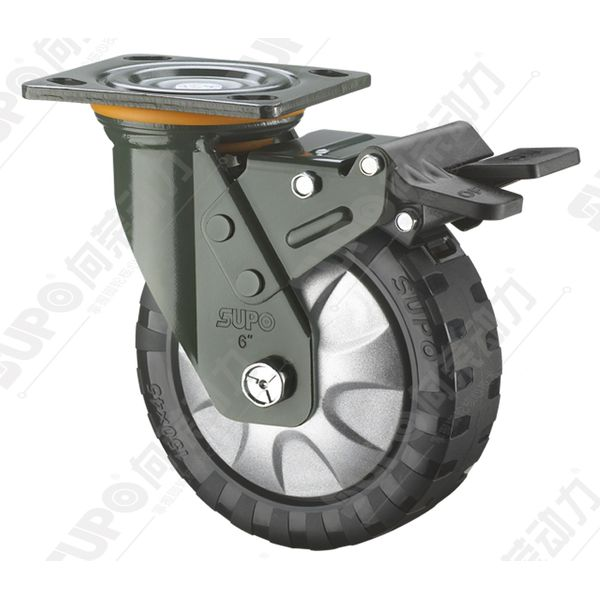 Supo Super Strong Pu Swivel With Brake Caster Wheel