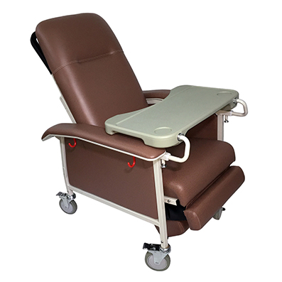 Lifeline Manual Mobile Recliner Geriatric Chair With Tray