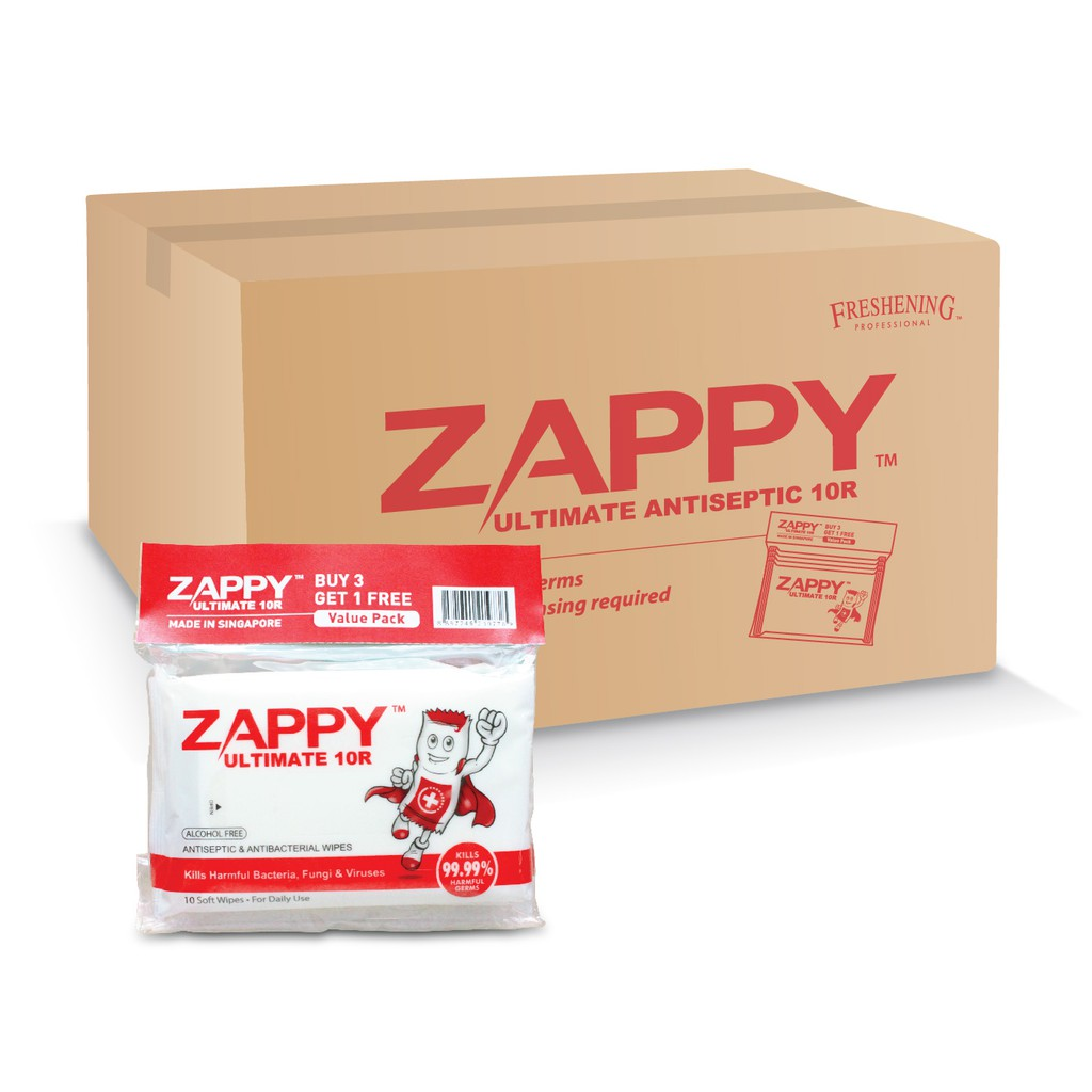 Zappy Ultimate Antiseptic Wet Wipes 10R (48 Pack a Carton)