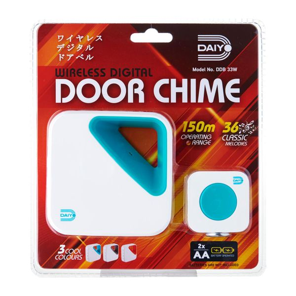 Daiyo Wireless Door Chime (battery) Turquoise DDB 33WT