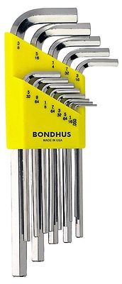 "Bondhus  0.050"" to 3/8"" Hex Key L Wrench, Long Arm (13pcs/Set)"