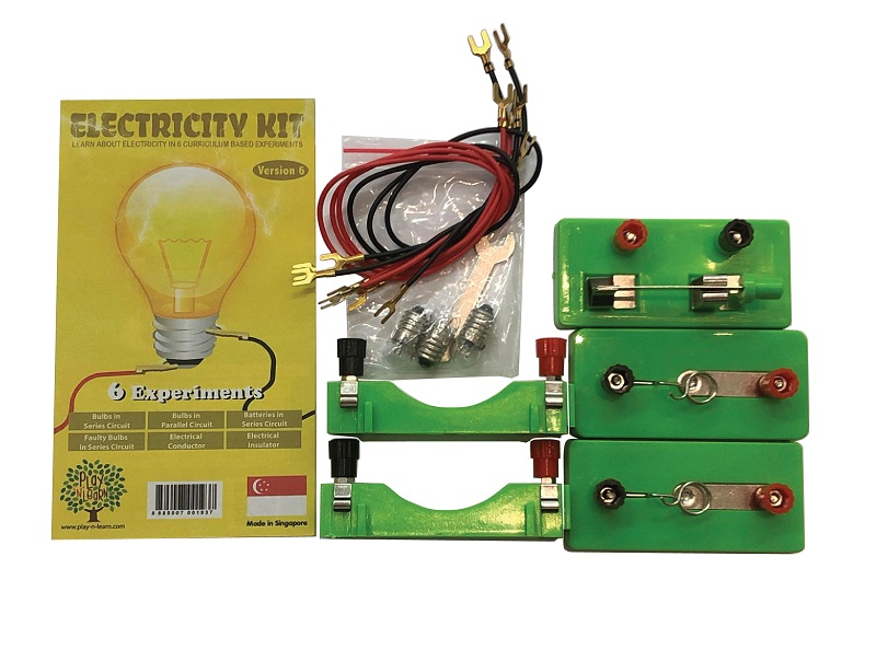 Please copy and pastethe Following Link in your browser to see the product demonstration. https://bit.ly/PNLElectricity6 Looking for experiments on simple circuitry to teach your kids?  Play N Learn Electricity Kit comes with 6 experiments that are Singapore Curriculum Based. They include . Bulb arrangement in series,  . Bulb arrangement in parallel,  . Battery arrangement in series,  . Effect of using faulty bulb,  . Effect of using conductor of electricity,  . Effect of using insulator of electricity  All materials except batteries are included.  Step-by-step instruction manual with pictures are also included. The U-shaped connectors are used as they are easier for students to connect the battery holder to the bulb holder.  Many educators and schools have bought them for their students at Primary 5 level.  This kit is used while teaching the topic on Electricity. Suitable for 8 years and up Play N Learn is the leading Educational Products Store in Singapore.