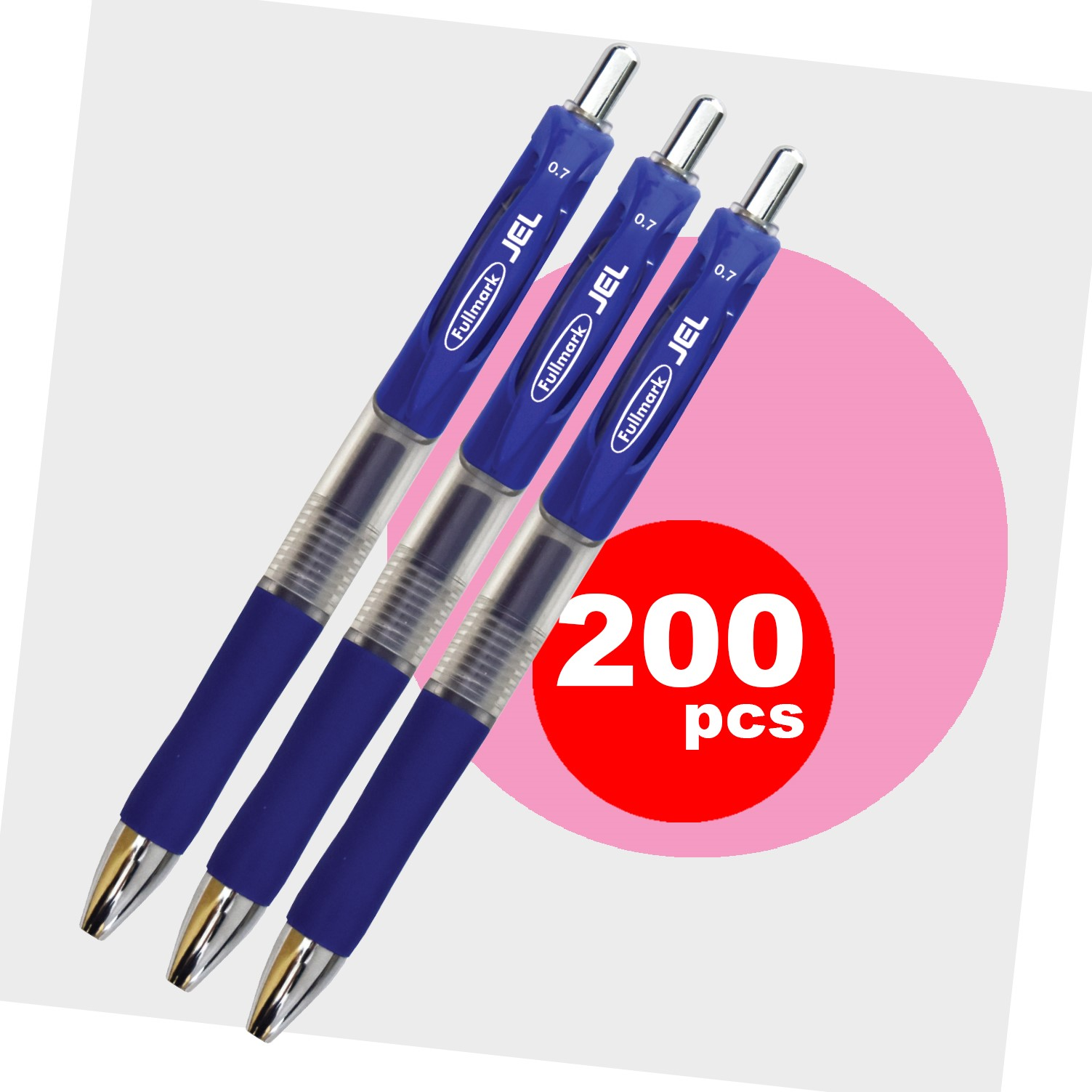 Fullmark JEL Retractable Premium Gel Ink Pens, Fine Point, Blue, 200-pack