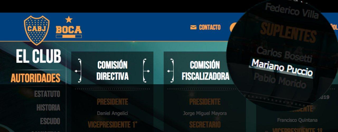 Puccio forma parte del área de fiscalización de Boca Juniors.