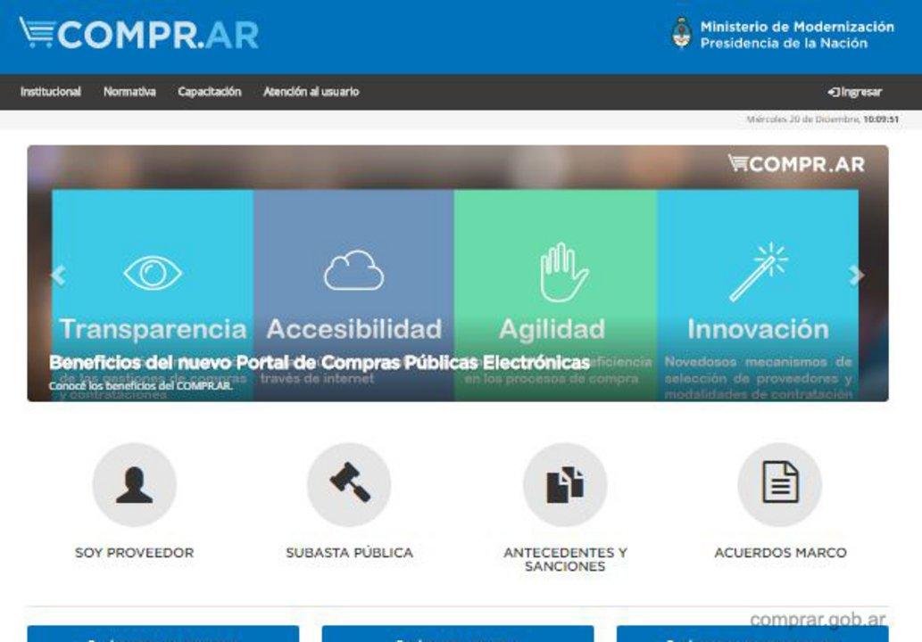 COMPR.AR es el portal de compras públicas electrónicas que depende del Ministerio de Modernización de la Nación.