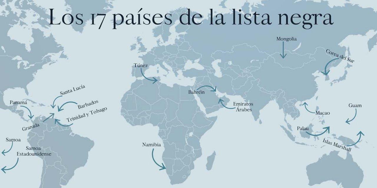 Los 17 países de la lista negra.