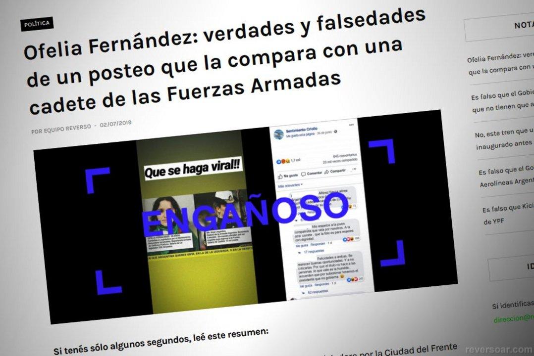 """Una información """"engañosa"""" que circuló sobre la candidata a legisladora porteña Ofelia Fernández."""
