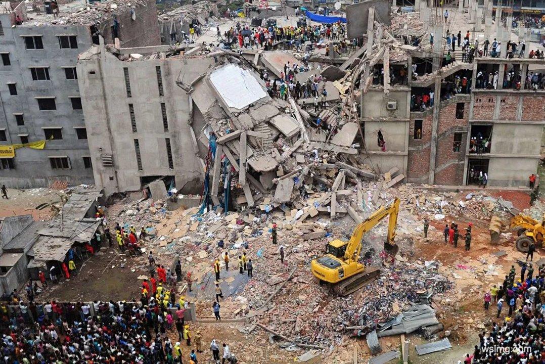 Derrumbe del edificio Rana Plaza en 2013.