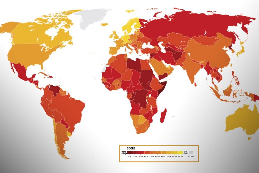 El índice que realiza Transparencia Internacional califica a 180 países y territorios.