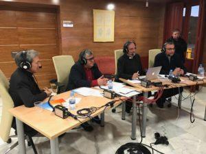 Joaquín Ruiz, José Vicente Avila, Juan Carlos Ramos y Antonio Fernández en la retransmisión de la 2 de TVE.